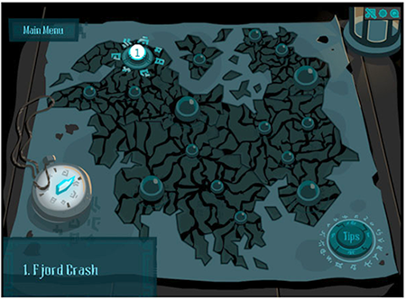 Gate screenshot of the map with the location of the different levels and level 1 highlighted