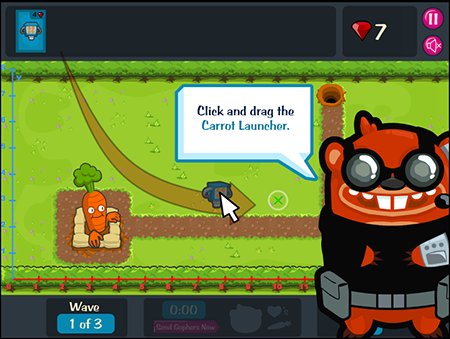 Game Over Gopher screenshot showing how to drag and place the Carrot Launcher on the board.