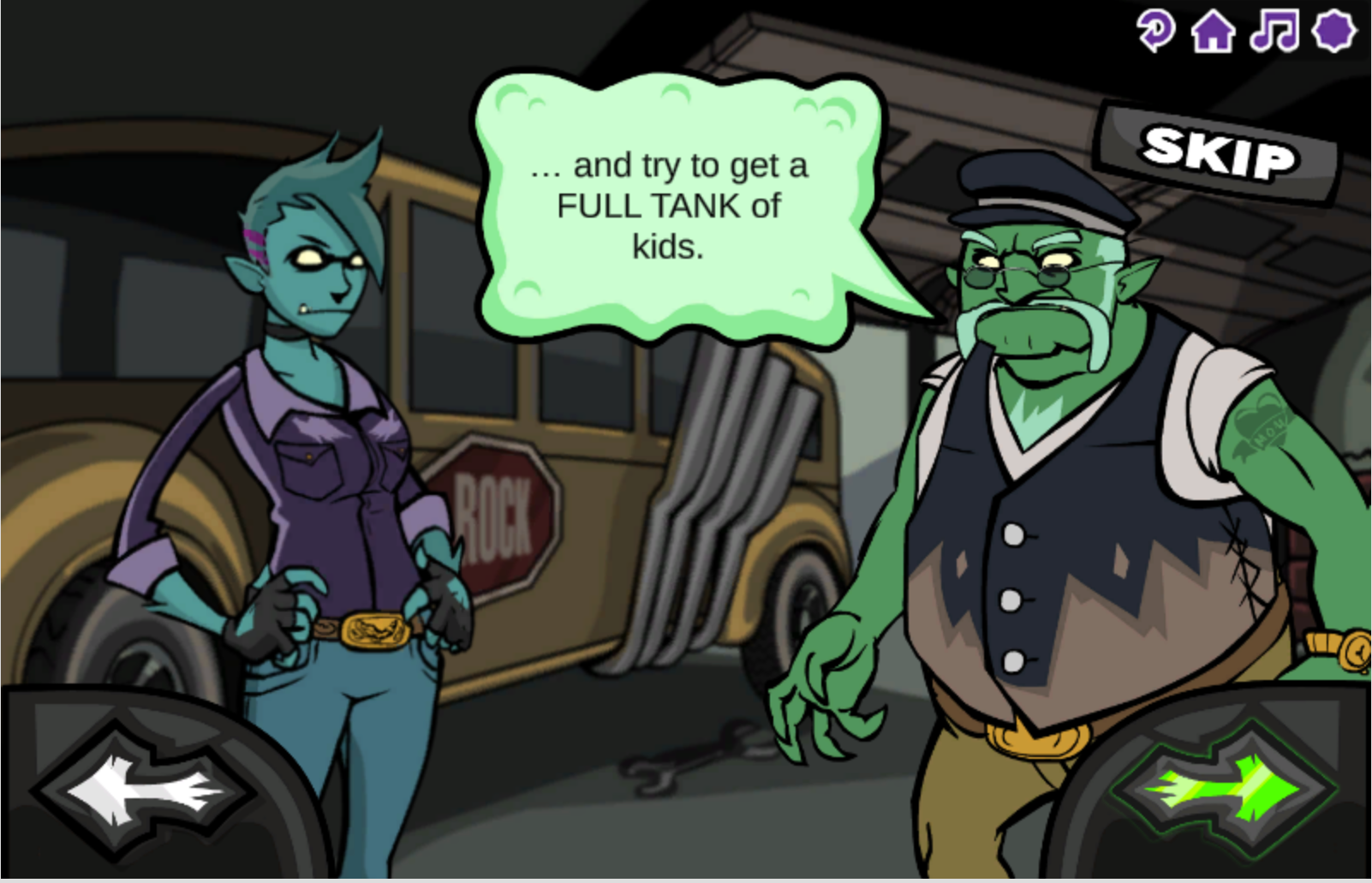 Monster School Bus introduction screenshot of two characters and the goal of the game.