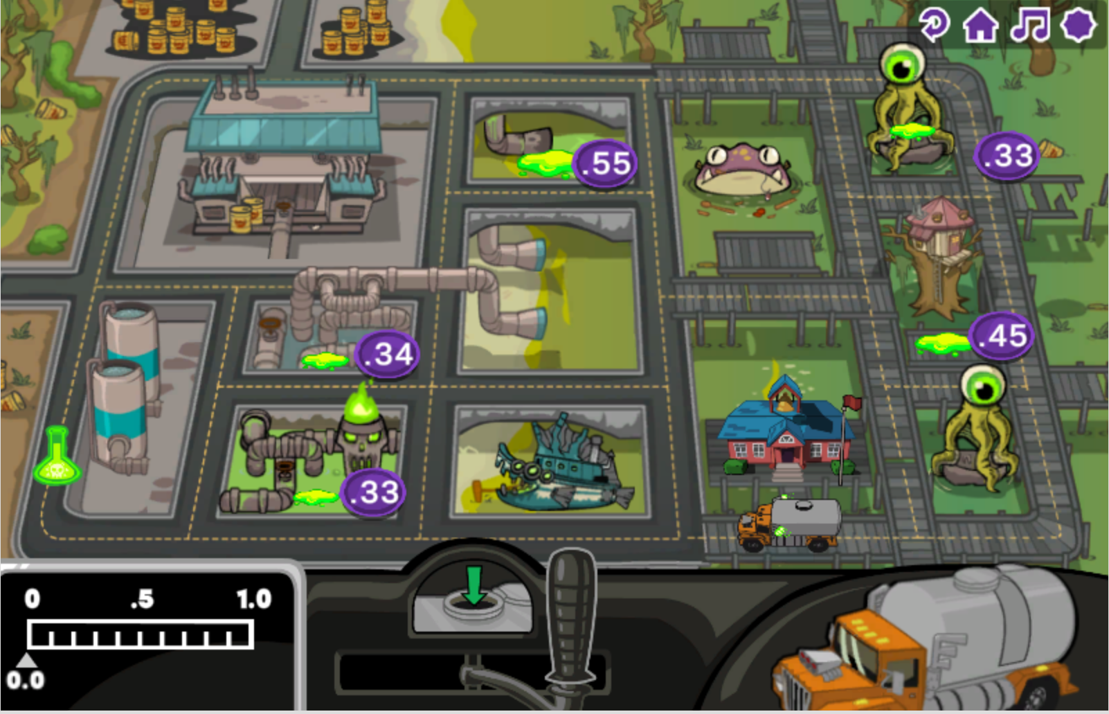 Monster School Bus screenshot of map of the town and the bus stops with the differently sized kids.