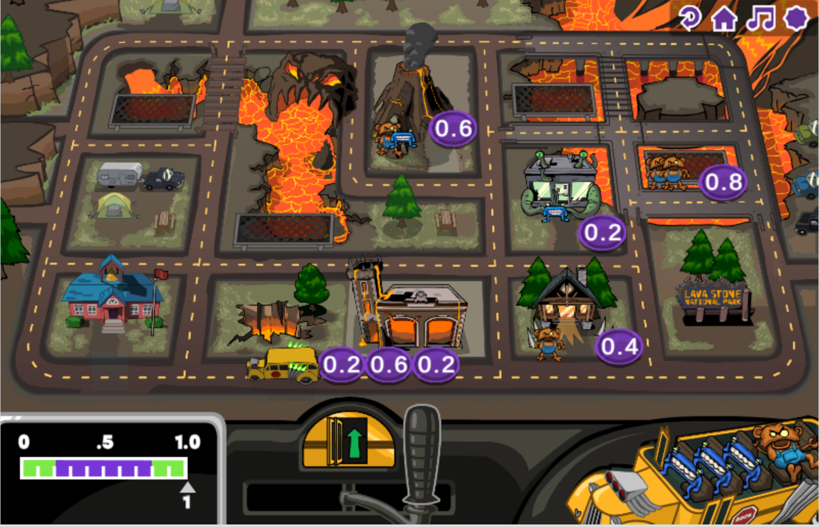 Monster School Bus screenshot of the map of the town with the buildings transformed to the Rocked-Out version.